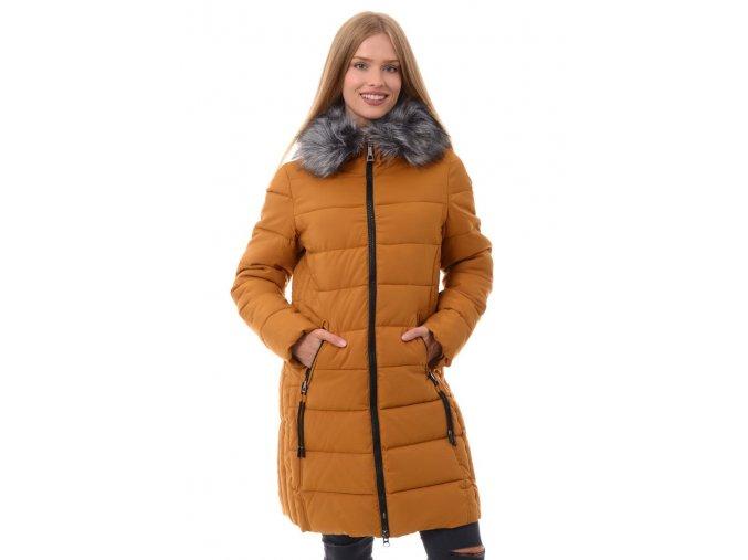 Dámska dlhá zimná bunda s kapucňou 3481 ružová