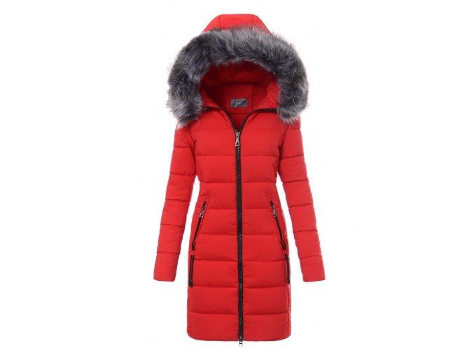 Dámska dlhá zimná bunda s kapucňou 2747 červená