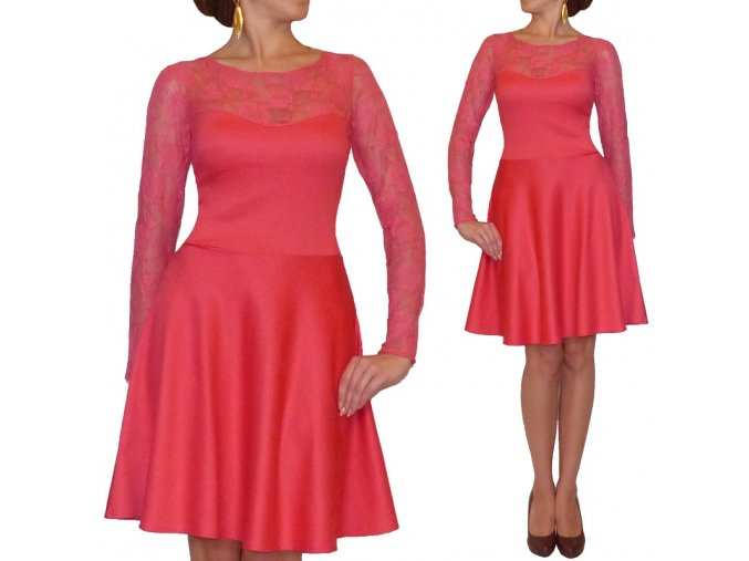 Elegantné áčkové šaty s čipkovanými rukávmi