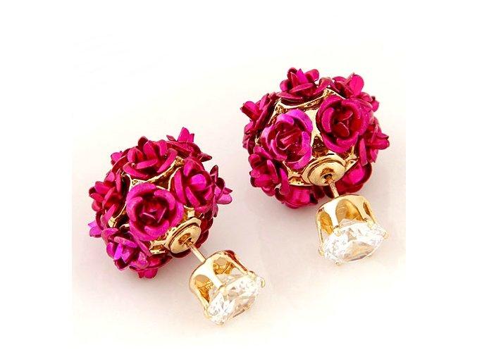 Obojstranné náušnice dior ruža