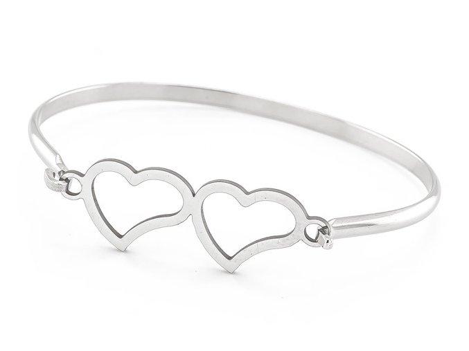 Náramok z chirurgickej ocele dvojité srdce 31001 strieborný
