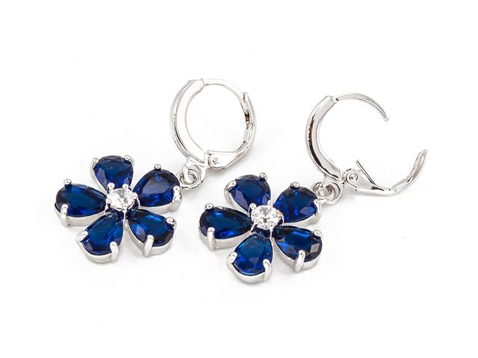 Strieborné náušnice kvet modrý