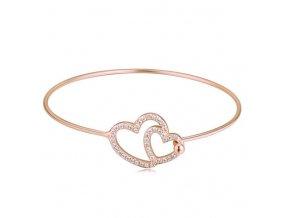 Náramok srdcia 27012 ružové zlato