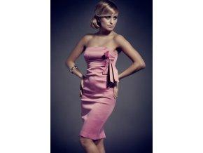 Koktejlové šaty s mašľou ružové