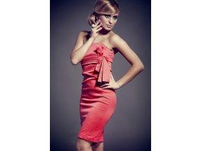 Koktejlové šaty s mašľou červené