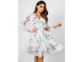 91314dcf8c54 Elegantné šaty s volánovým rukávom CMK561 tmavoružové - Tentation.sk