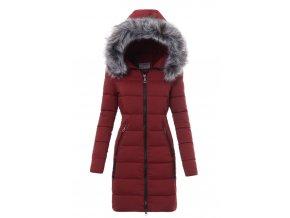 Dámska dlhá zimná bunda s kapucňou 3479 bordová