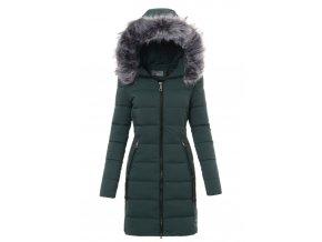 Dámska dlhá zimná bunda s kapucňou 3478 zelená