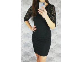 Elegantné šaty s čipkou 1323 čierne
