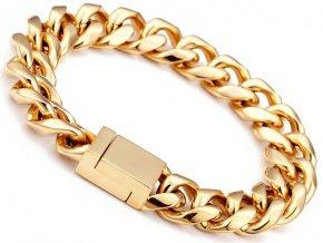 Pánsky zlatý náramok s chirurgickej ocele 33537