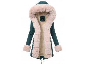 Dámska zimná bunda parka s kožušinou 3496 zelená