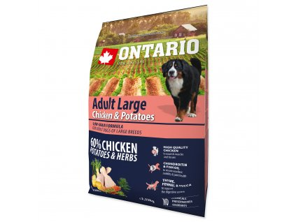 ONTARIO Dog Adult Large Chicken & Potatoes & Herbs (2,25kg)
