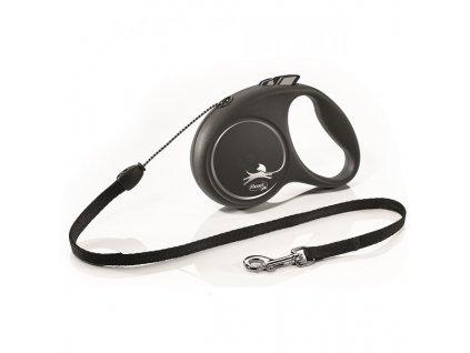 Vodítko Flexi Black design M lanko 5m/20kg stříbrná