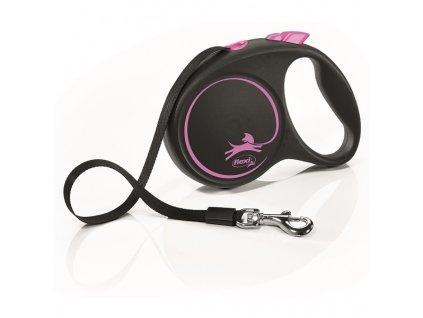 Vodítko Flexi Black design S pásek 5m/15kg růžová