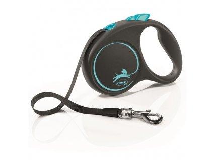 Vodítko Flexi Black design S pásek 5m/15kg modrá
