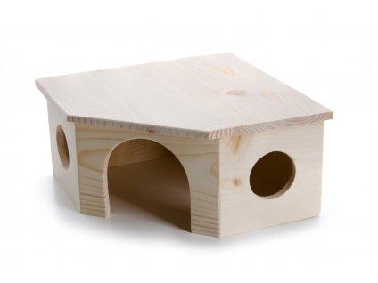 32441 jk animals drevene domky masiv pro hlodavce rohovy domek kralik 26 26 13 cm 1