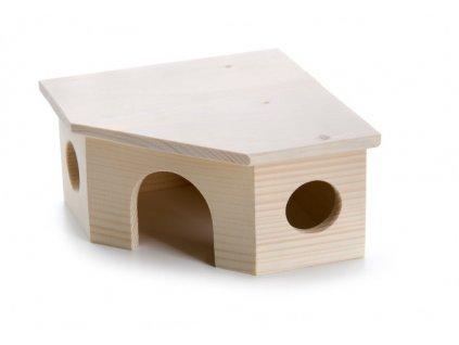 32439 jk animals drevene domky masiv pro hlodavce rohovy domek krecek 17 5 17 5 9 cm 1
