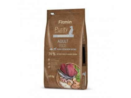Fitmin Purity Adult Fish & Venison Rice kompletní krmivo pro psy 12 kg