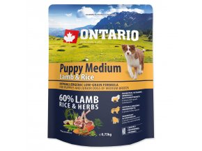ONTARIO Puppy Medium Lamb & Rice (0,75kg)