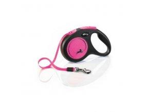 Vodítko Flexi Neon M pásek 5m/25kg černo/růžová