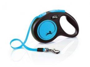 Vodítko Flexi Neon M pásek 5m/25kg černá/modrá