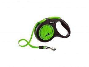Vodítko Flexi Neon M pásek 5m/25kg černá/zelená