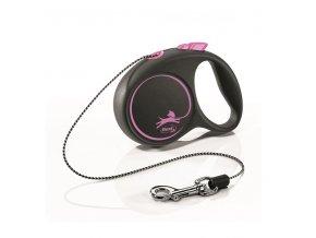 Vodítko Flexi Black design XS lanko 3m/8kg růžová