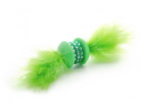 58789 3 jk animals hracka pro kocky zelena tpr cinka s pirkem 15 cm 1