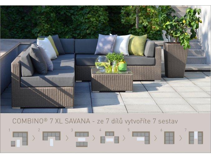Ratanový zahradní nábytek sedací sestava Combino savana 7XL