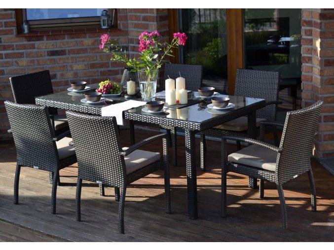 Ratanový zahradní nábytek jídelní sestava pro 6 Korsika nero