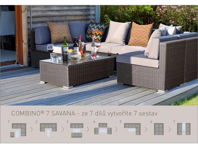 Ratanový zahradní nábytek sedací sestava combino savana 7
