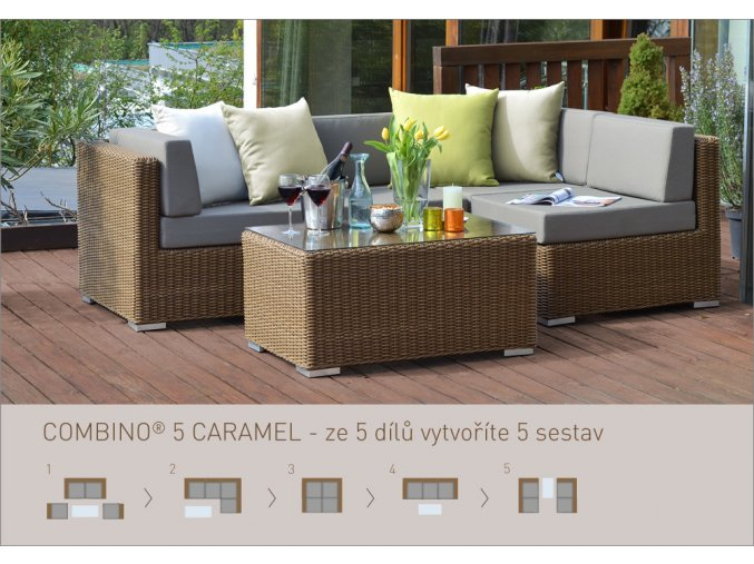 Ratanový zahradní nábytek sedací sestava Combino Caramel 5 dílů