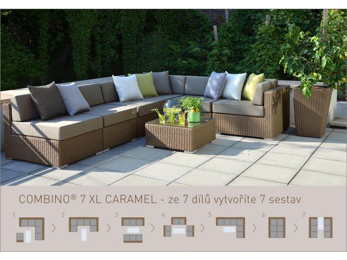 Ratanový zahradní nábytek sedací sestava Combino caramel 7XL