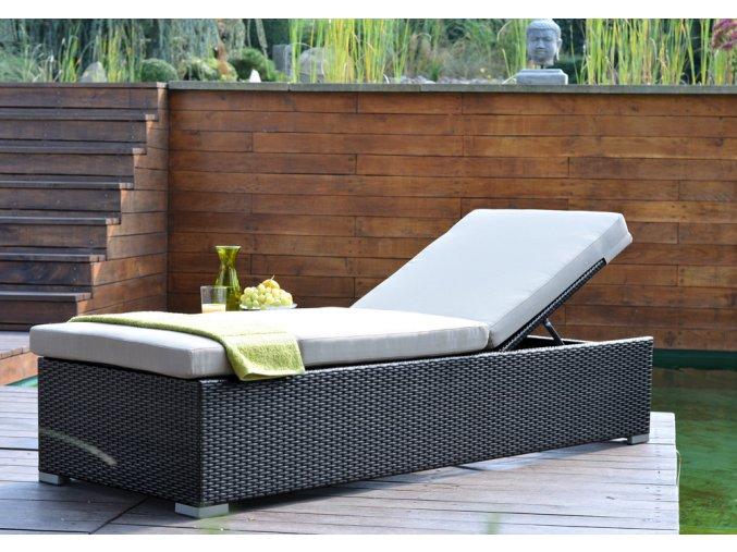 Ratanový zahradní nábytek lehátko k bazénu Bikini nero