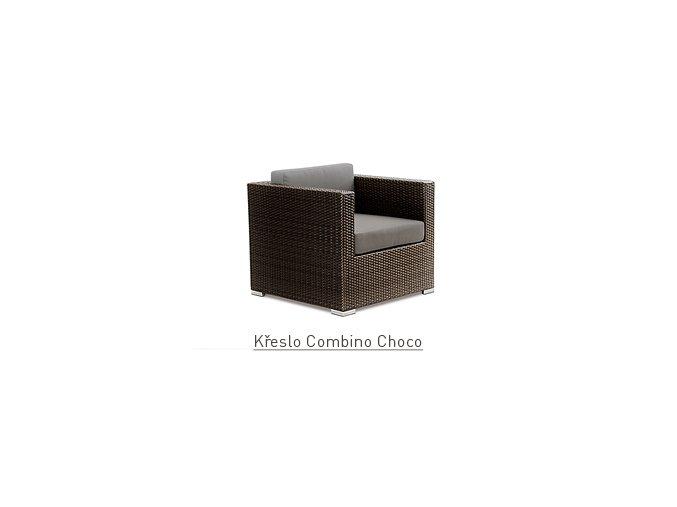 Ratanový zahradní nábytek křeslo Combino Choco s područkami