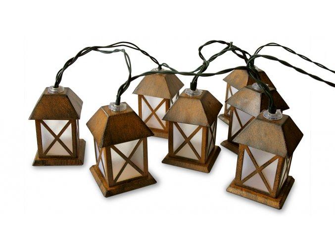 Ratanový zahradní nábytek osvětlení Světelný řetěz - domečky