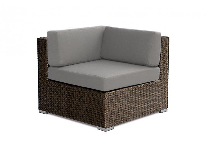 Ratanový zahradní nábytek variabilní Rohové křeslo Combino choco XL