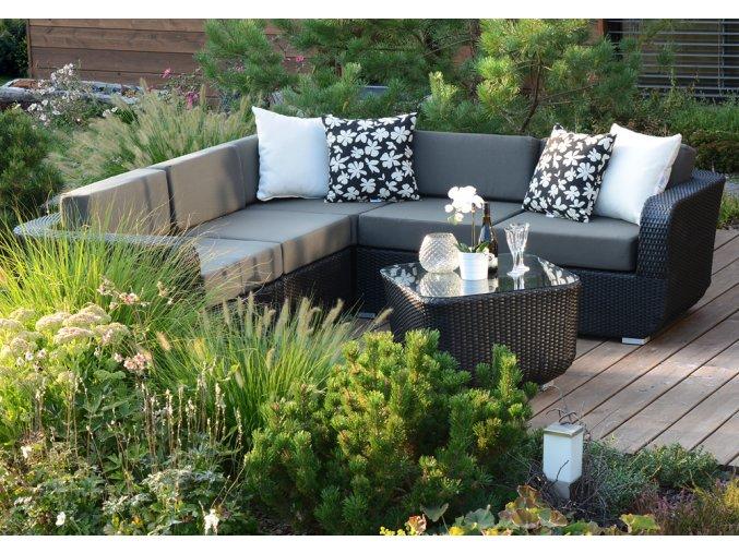 Ratanový zahradní nábytek sedací sestava Palermo nero