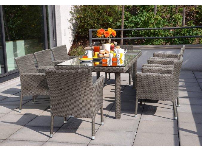 Ratanový zahradní nábytek jídelní sestava venkovní macao savana 8
