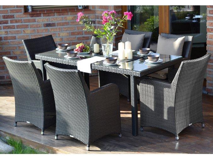 Ratanový zahradní nábytek jídelní sestava pro 6 Fiesta nero