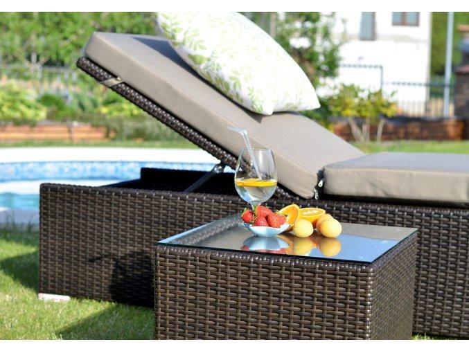 Ratanový zahradní nábytek Bikini stolek k lehátku choco