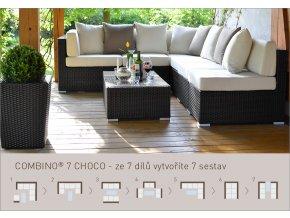 Ratanový zahradní nábytek variabilní sedací soupravy combino choco 7