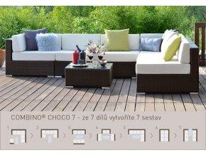 Ratanový zahradní nábytek variabilní sedací soupravy combino choco 7 XL