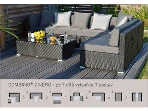 Ratanový zahradní nábytek variabilní sestava Combino nero 7
