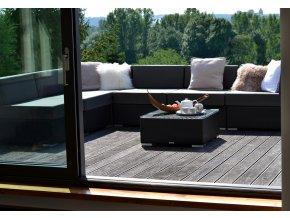 Ratanový zahradní nábytek sedací sestava Combino nero 7 XL umělý ratan