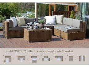 Ratanový zahradní nábytek sedací sestava combino caramel 7