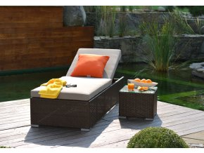 Ratanový zahradní nábytek lehátko k bazénu Bikini Choco