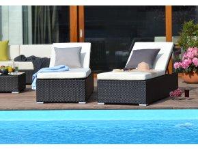 Zahradní nábytek umělý ratan lehátko k bazénu Bikini Nero Set 2