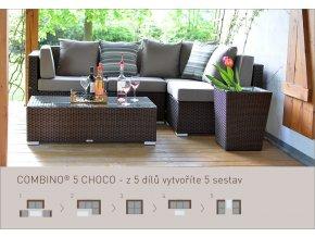 Ratanový zahradní nábytek variabilní sedací soupravy combino choco 5