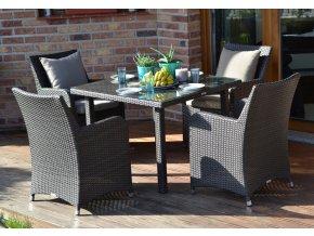 Ratanový zahradní nábytek jídelní set pro 4 Fiesta nero